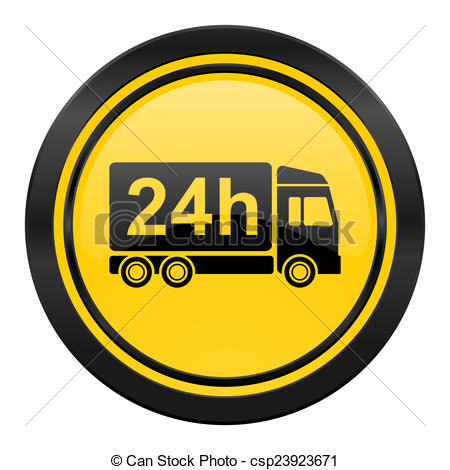 Stock Illustrations of delivery icon, yellow logo, 24h shipping.