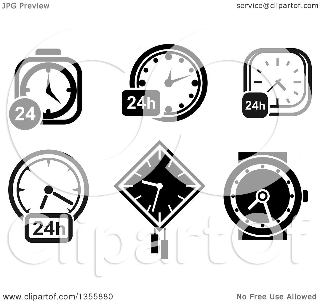 Clipart of Black and White 24 Clocks and a Wristwatch.