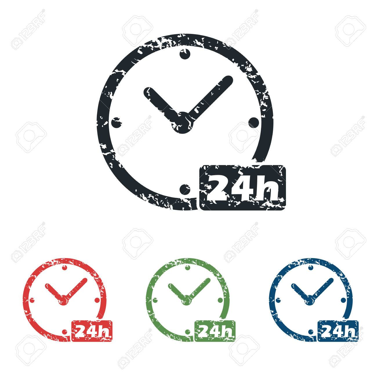 24h Workhours Grunge Icon Set Royalty Free Cliparts, Vectors, And.