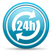 Clip Art of 24h internet blue icon k22087352.