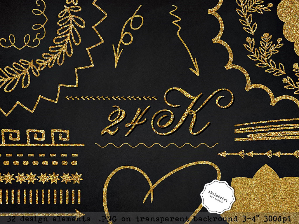 FREEBIE! 24K Gold Design Elements Clipart PNG by.