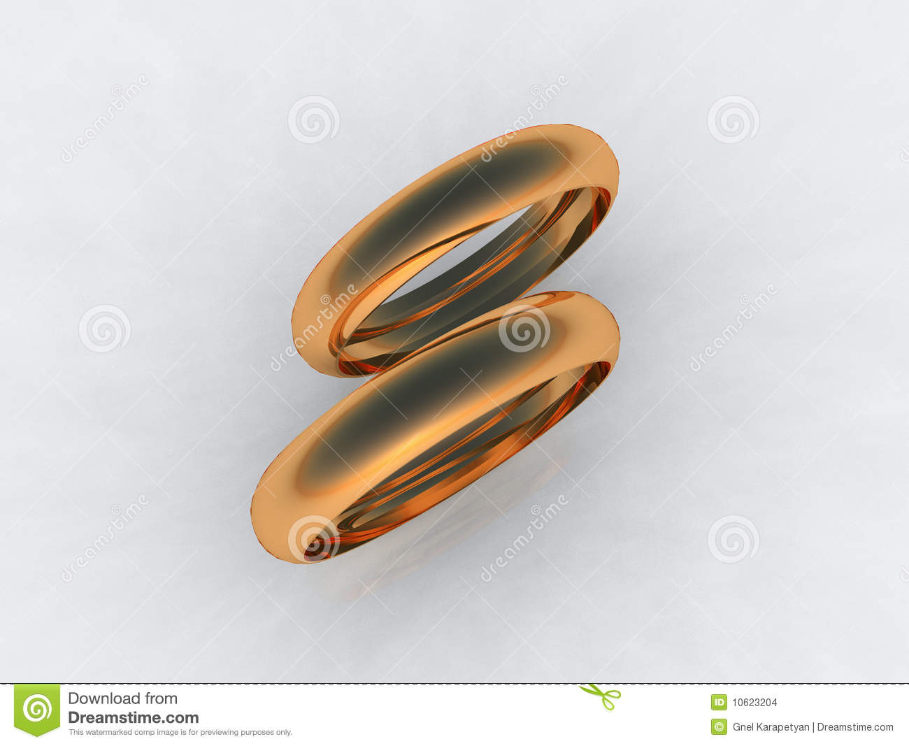 Fine 24 Karat Gold Wedding Bands Stock Images.