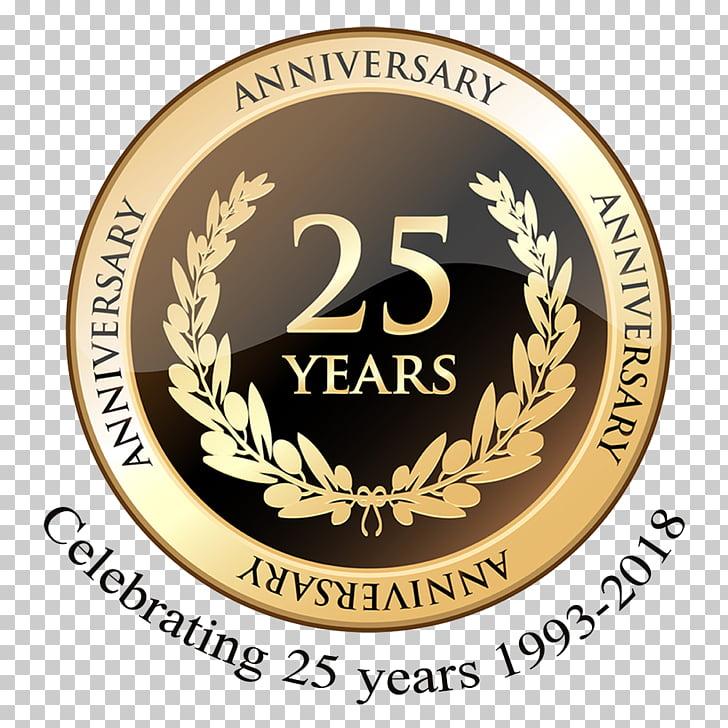 Celebración del 25 aniversario de boda, 1 aniversario. PNG.