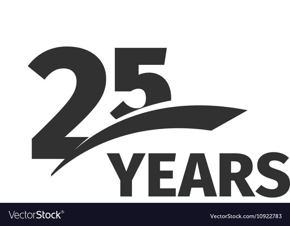 Isolated abstract black 25th anniversary logo on.