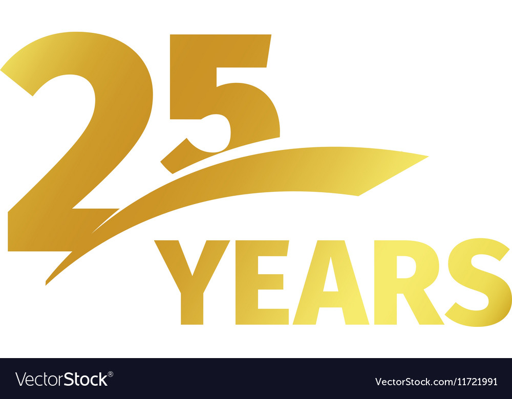 Isolated abstract golden 25th anniversary logo on.