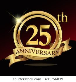 25th years golden anniversary logo celebration with ring and.