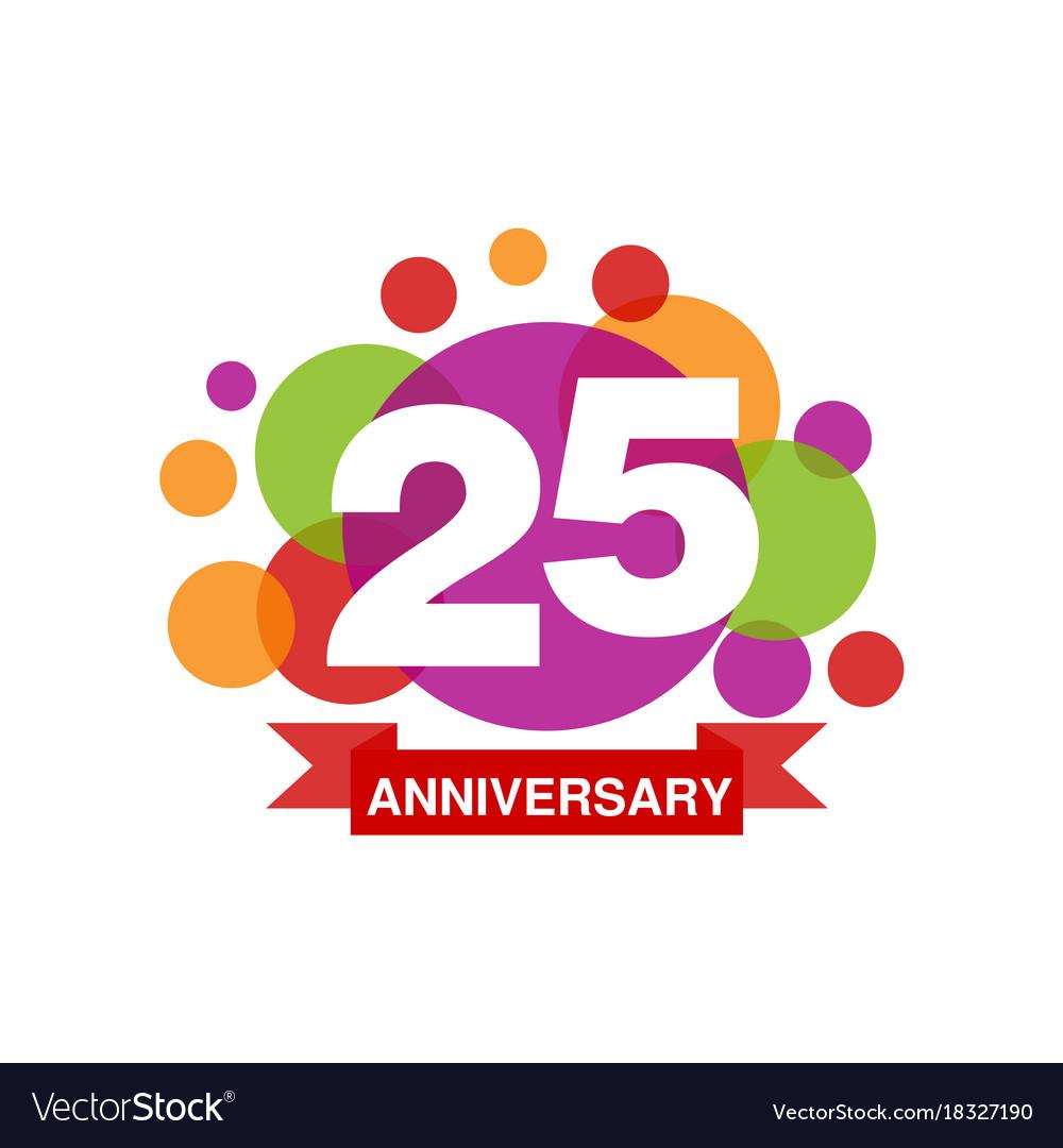 25th anniversary colored logo design happy.