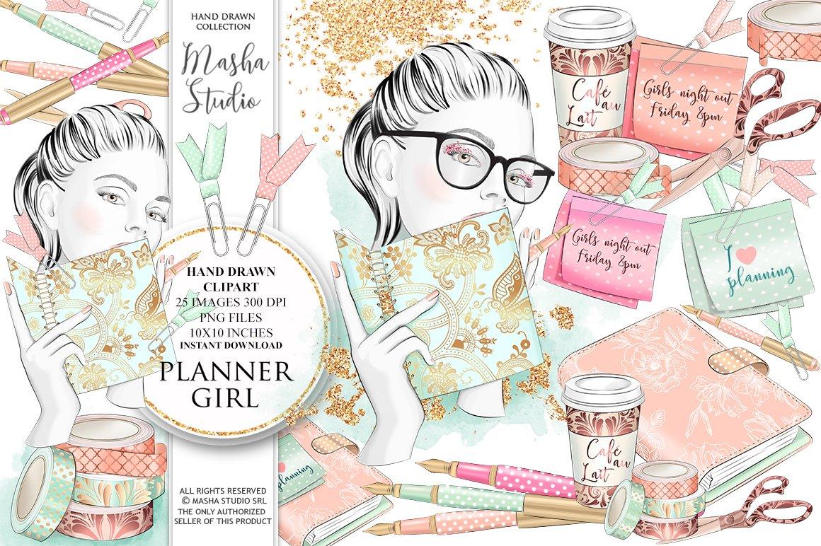 PLANNER GIRL clipart ~ Illustrations ~ Creative Market.