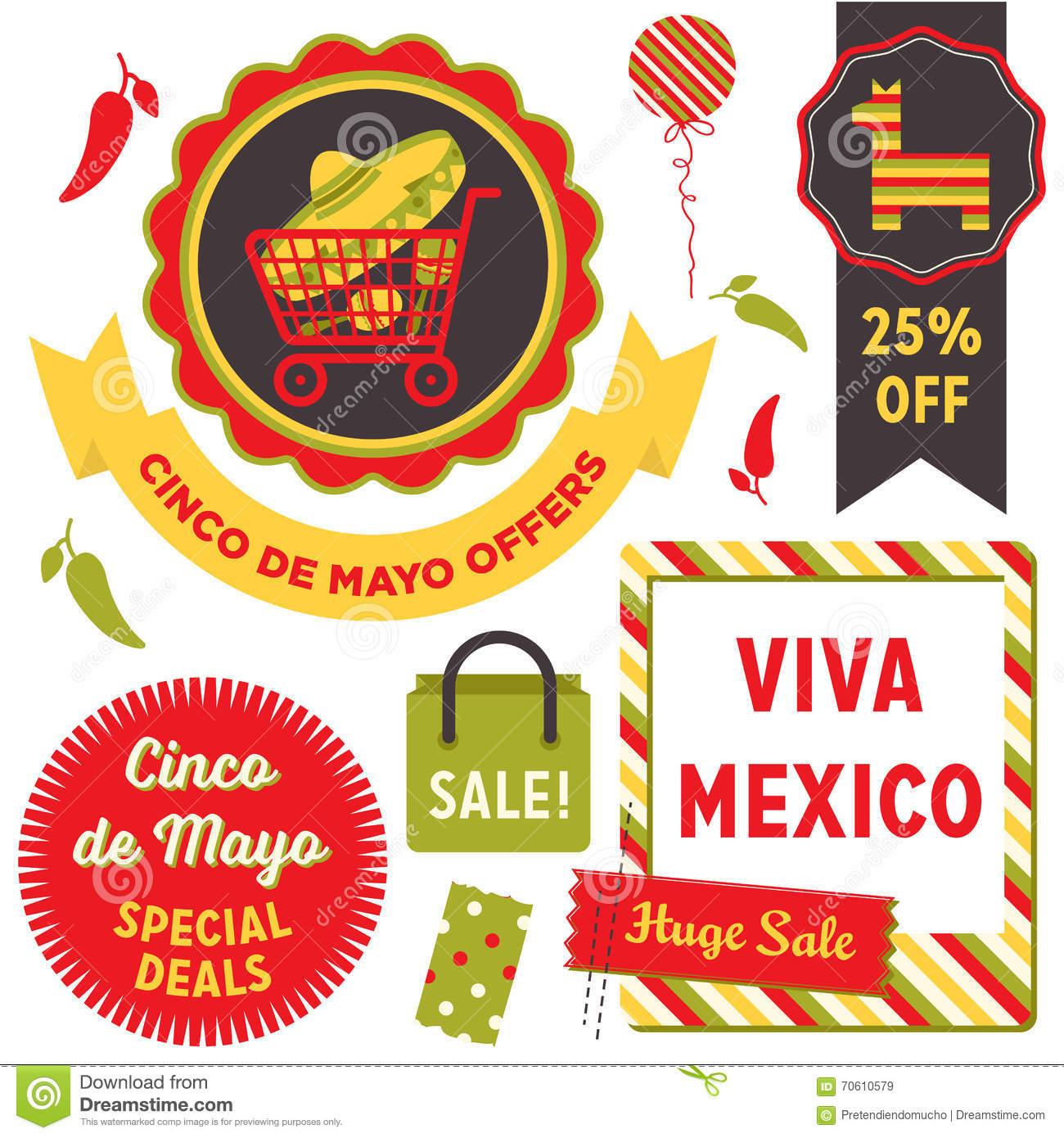 Cinco De Mayo Sale Clip Art Stock Vector.