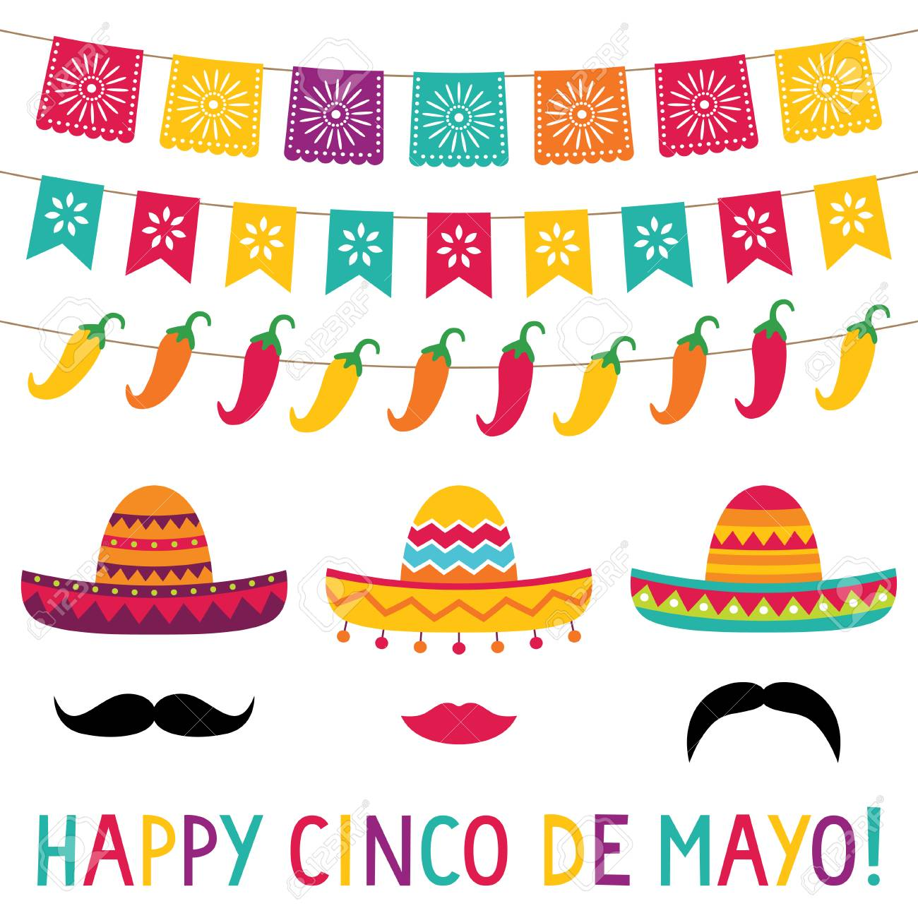 Cinco De Mayo Banners And Sombreros Set Royalty Free Cliparts.