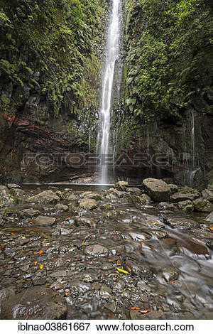 """Picture of """"Waterfall at 25 Fontes, Rabacal, Madeira, Portugal."""
