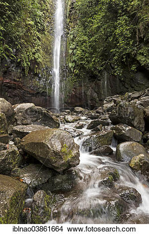 "Stock Photo of ""Waterfall at 25 Fontes, Rabacal, Madeira, Portugal."