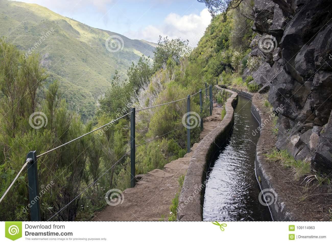 Levada Das 25 Fontes, Touristic Hiking Trail, Rabacal, Madeira.