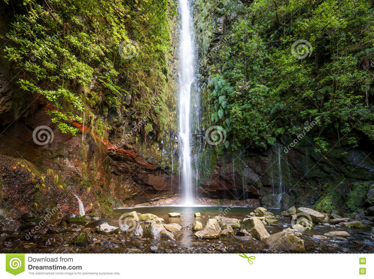 Waterfal At Levada Walk 25 Fountains, Madeira Island Stock Image.