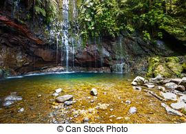 Stock Photography of Waterfall Levada das 25 fontes, Madeira.