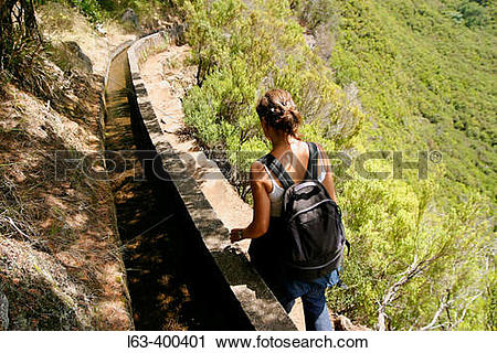 Stock Photography of Levada das 25 fontes (25 fountains irrigation.