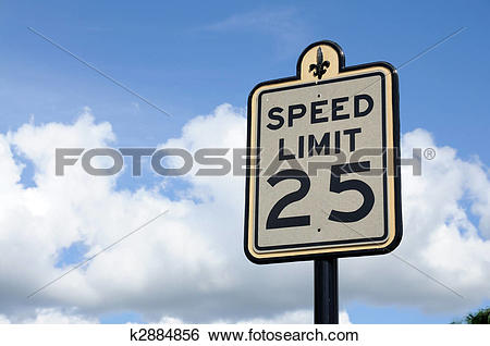 Stock Images of Road Sign Speed Limit 25 Miles k2884856.