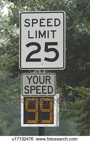 Stock Images of Speed limit of 25 miles per hour u17132476.