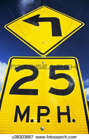 Picture of Yellow street sign saying 25 Miles Per House u38303667.