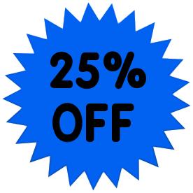 25 percent off solid blue.