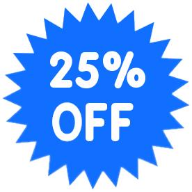 25 percent off light blue.