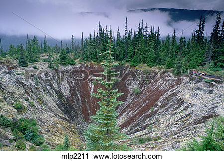 Stock Photography of Crater from eruption 250 years ago, Nisga'a.