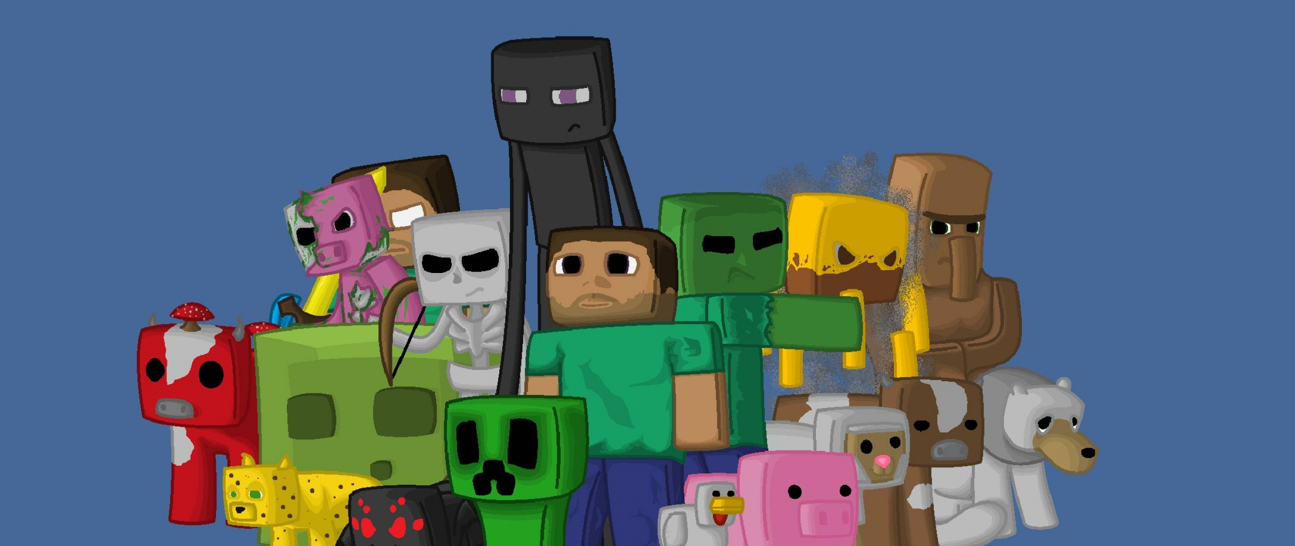 Download Wallpaper 2560x1080 Minecraft, Characters, Game, Pixels.