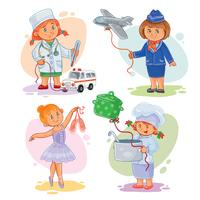 Vector illustration of young children playing.