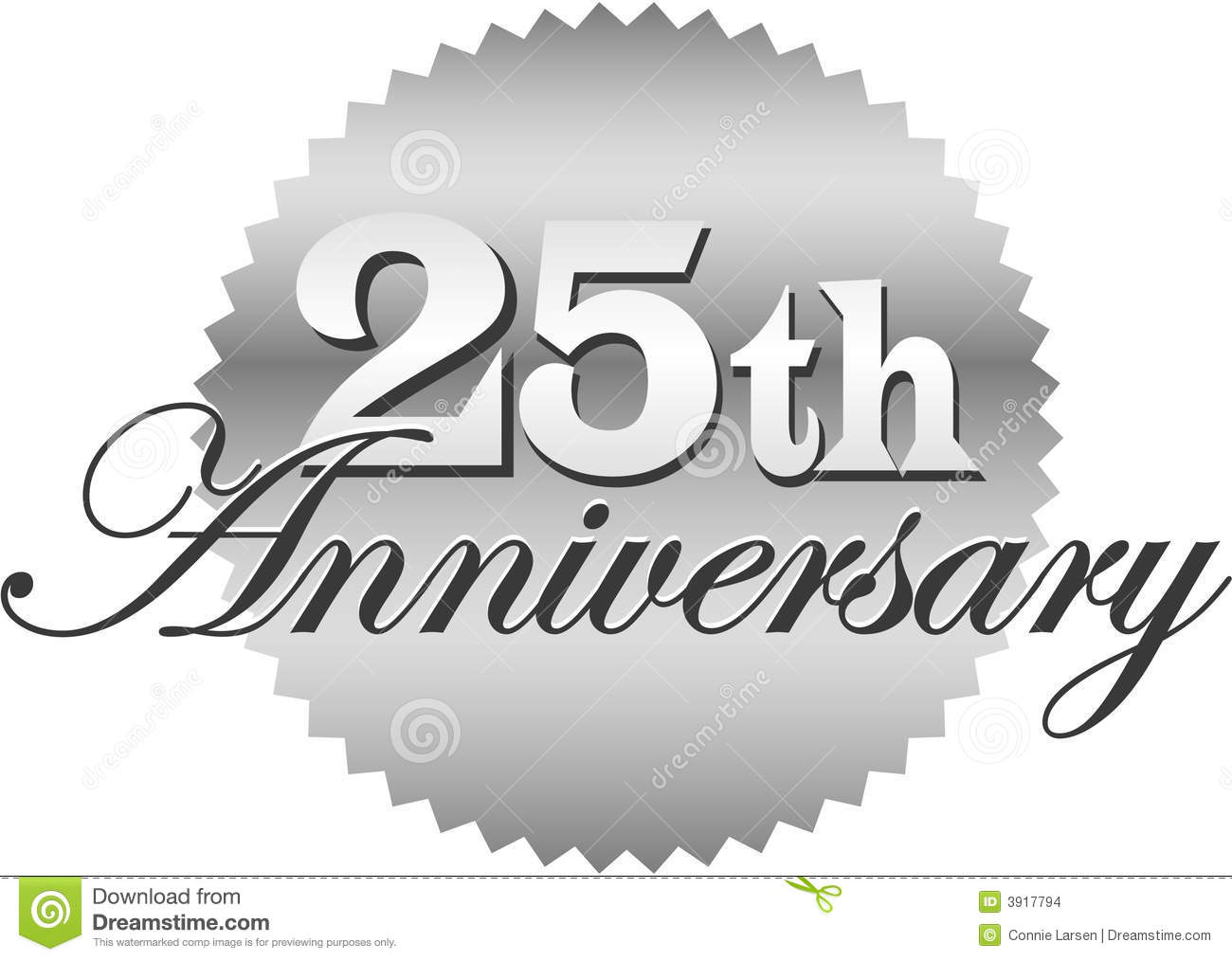 25th Anniversary Seal/eps stock vector. Illustration of decoration.