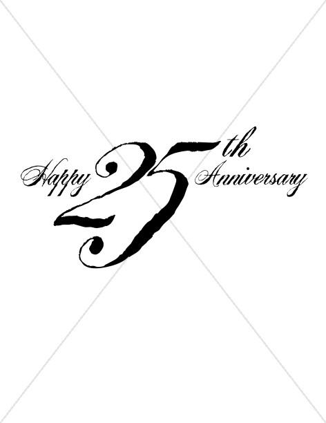 Black 25th Anniversary Wordart.