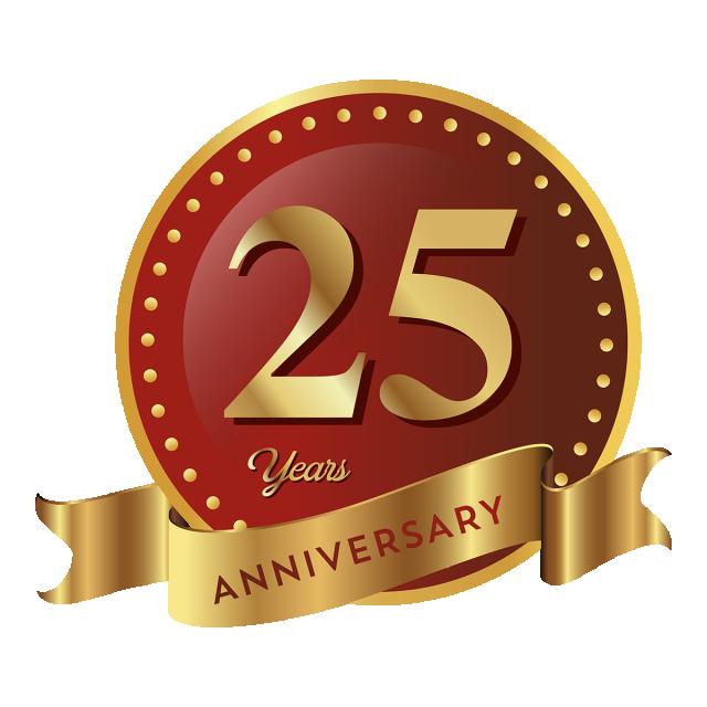 25th Anniversary Badge Logo Icon, Anniversary, 25 Anniversary, Badge.