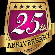 25th year anniversary colorful stock vector logo design.