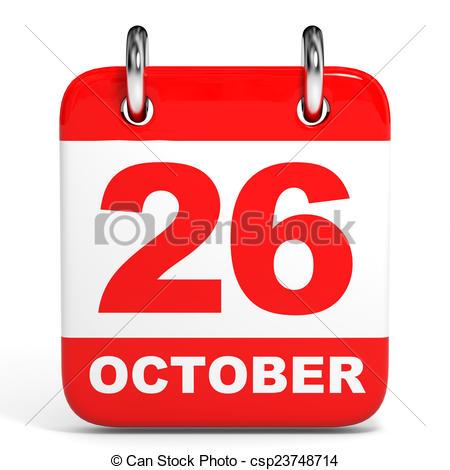 Clipart of Calendar. 26 October..