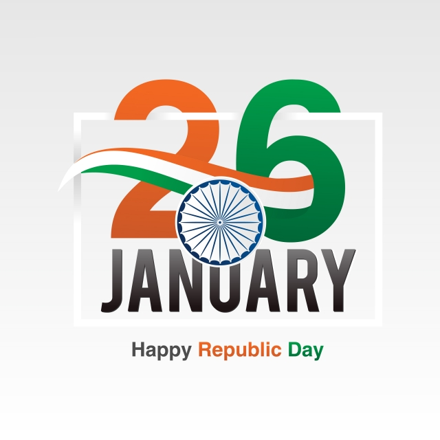 Indian Republic Day Banner Design With Text 26 January Vector.