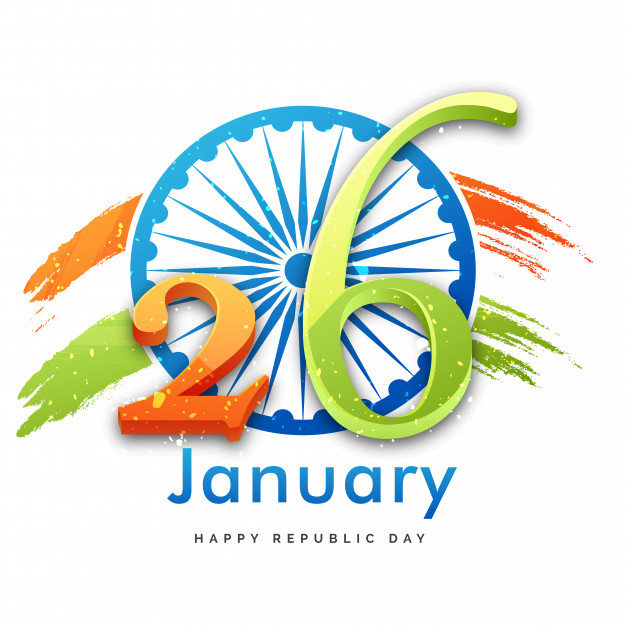 Indian republic day concept with gliter text 26th january on ashoka.