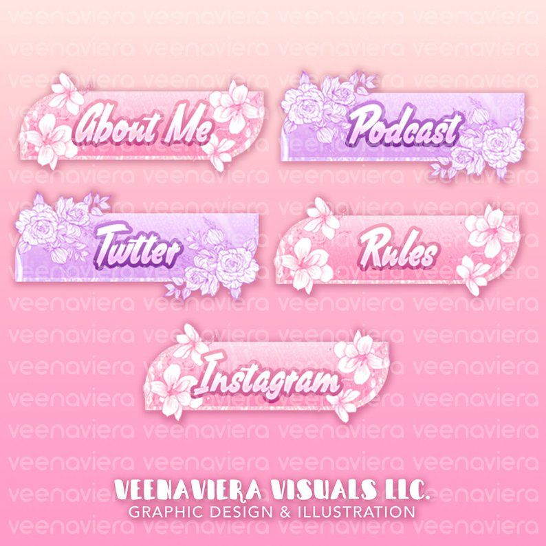 veenaviera magnolia and rose floral Custom Twitch Stream.