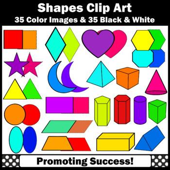 2D and 3D Shape Clip Art, Math Geometric Shapes Clipart, SPS.