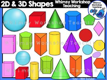 2D and 3D Shapes Clip Art.