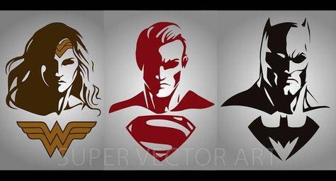 Batman, Superman, Wonder Woman Vector Clipart Silhouette.