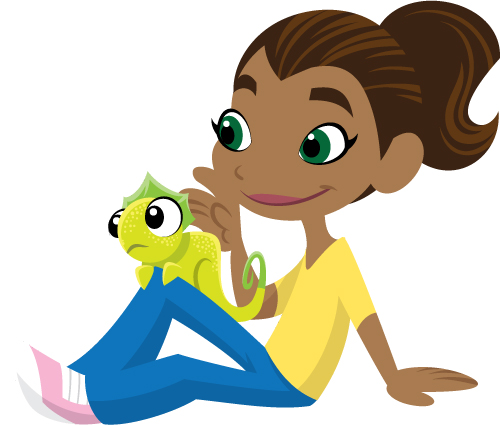 2D Preschool Girl With Lizard.