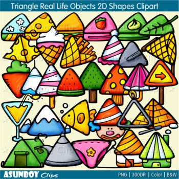 Triangle Real Life Objects 2D Shapes Clipart.