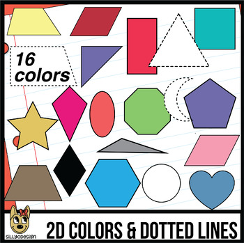 2D Shapes: 16 Colors, Dotted, and Line Art Clip Art.