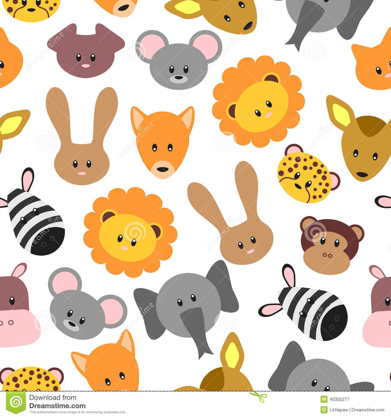 Seamless Pattern With Cute Pet And Wild Cartoon Animals Stock.