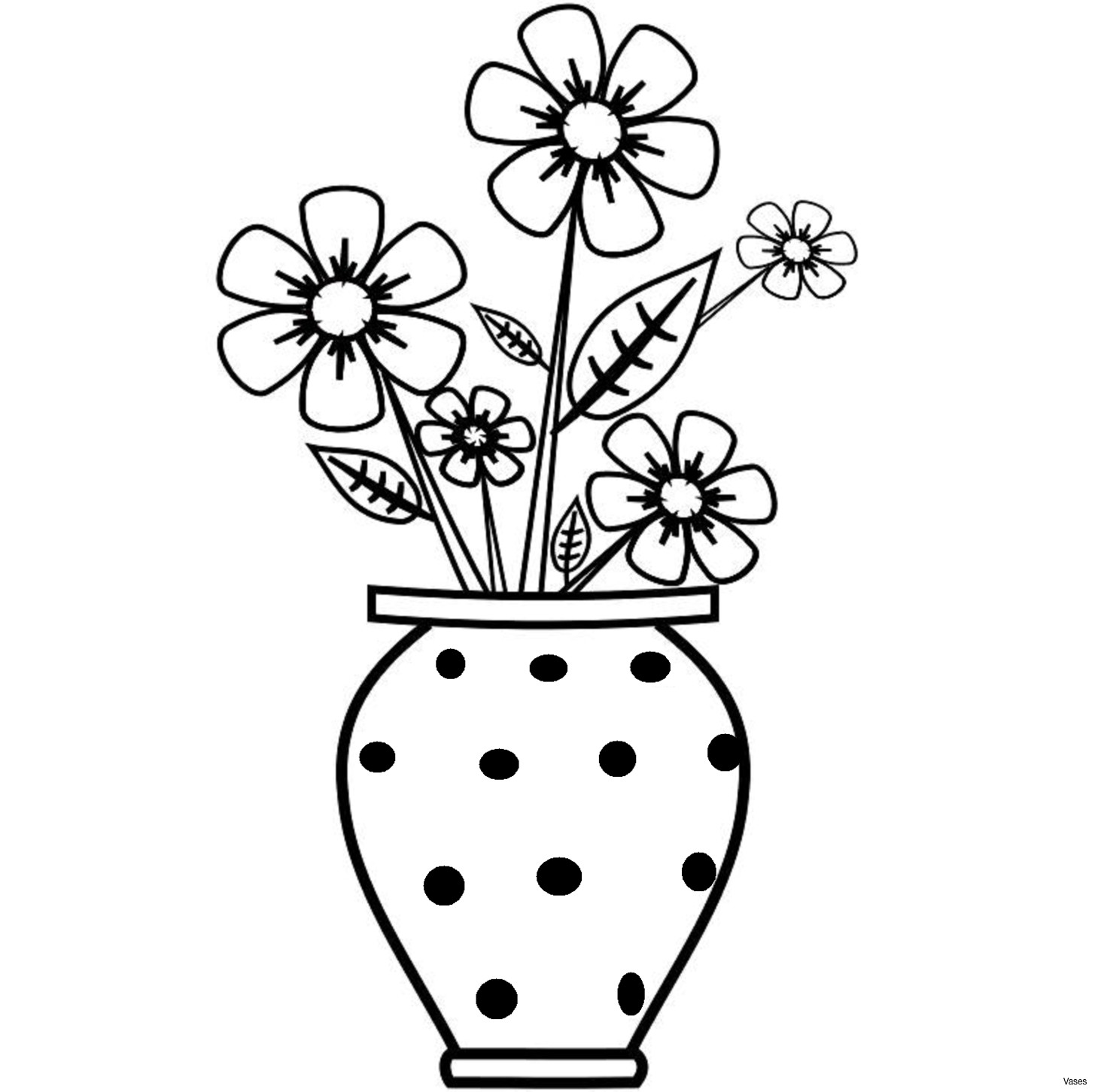Vase Of Flowers Clipart Black And White.