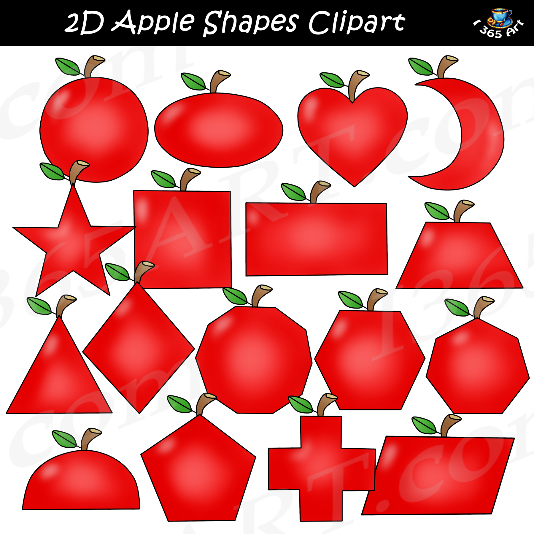 2D Apple Shapes Clipart Graphics Download.
