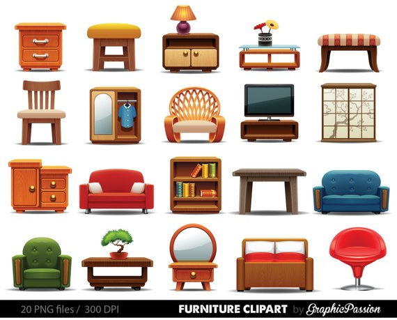 Furniture clipart ,Clipart Furniture, Home decor clipart.