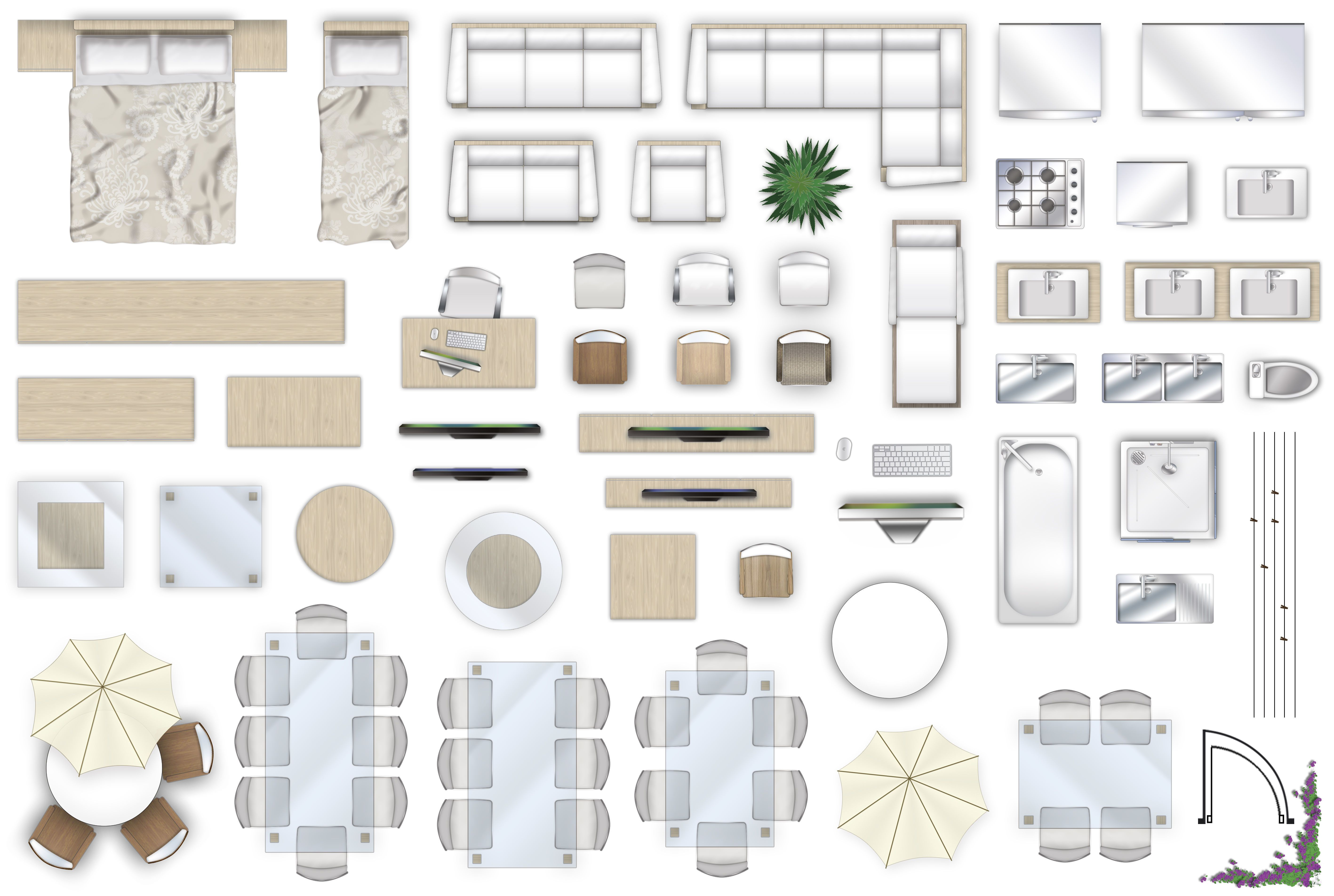 2d furniture floorplan top down view style 4 psd 3d model 3.