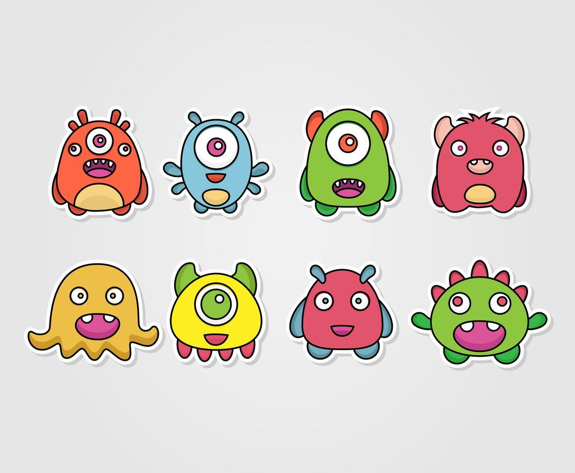 2019 的 2D Monster Sticker Vector Set.