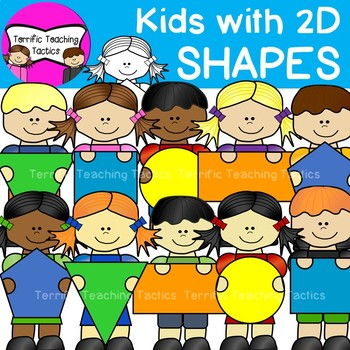 Kids with 2D Shapes Clip Art.