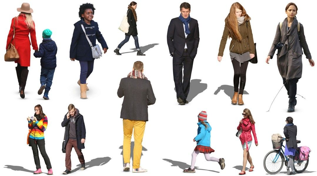 12 Free 2D Autumn Cutout People.